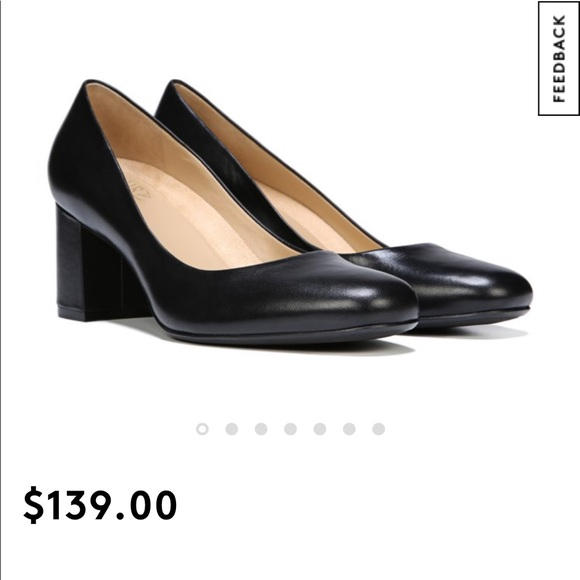 Naturalizer Black leather Pump thick heel shoe